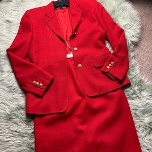 Brooks Brothers Red Wool Skirt Suit Set
